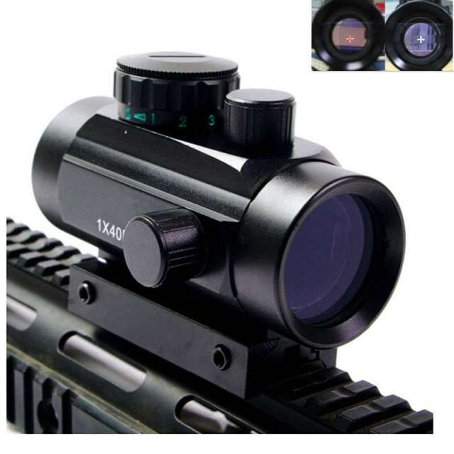 Tactical 1X40 Red Green Dot Sight Riflescope Rifle Airsoft Gun Red Green Dot Sight 11mm 20mm Rail Mount Rifle Airsoft Gun 1