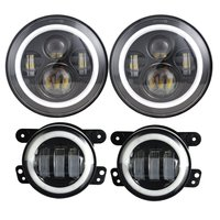 Dot Approve 7inch moto LED Headlights with White DRL/Amber Turn Signal + 4 inch LED Fog Lights with White DRL Halo Ring