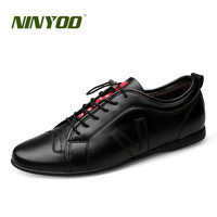 NINYOO Soft Fashion Men Casual Shoes Genuine Leather Flats Shoes Black High Quality Breathable Students Shoes