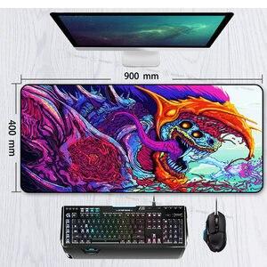 Image 5 - Игровой коврик для мыши 900x400 мм Hyper Beast XL с большим фиксирующим краем, резиновый коврик для мыши с клавиатурой CS GO, подставка под запястье, Настольный коврик для компьютера