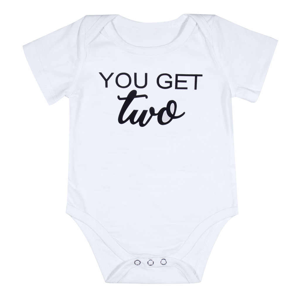 69ec519c043f0 Newborn Twins Baby Boys Girls Clothes Cotton Letter Bodysuit Short Sleeve  Summer Sunsuit Casual little Brother Matching Outfits