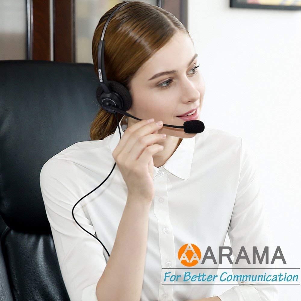 Wantek Arama Cordless Phone Headphones,2.5MM Telephone Headset with Noise Cancelling Boom Mic for Panasonic Dect Phones-Binaural 1