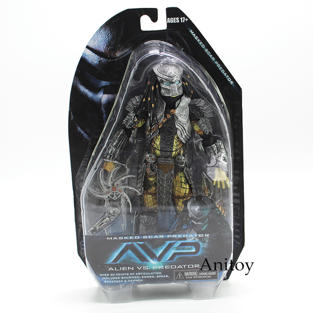 NECA Alien vs Predator Masked Predator Cicatriz e Scar Predator PVC Action Figure Collectible Modelo Toy 21 cm