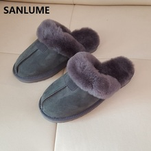 SANLUME Women Winter Sheepskin Leather Slippers 100% Real Sheep Fur Warm Slippers Gray chestnut Indoor Home plus size 41(China)