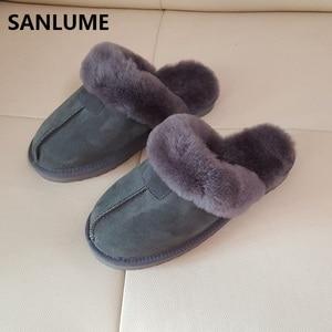 Sanlume chinelos de pele carneiro inverno feminino 100% pele de ovelha real chinelos quentes cinza castanha interior casa plus size 41