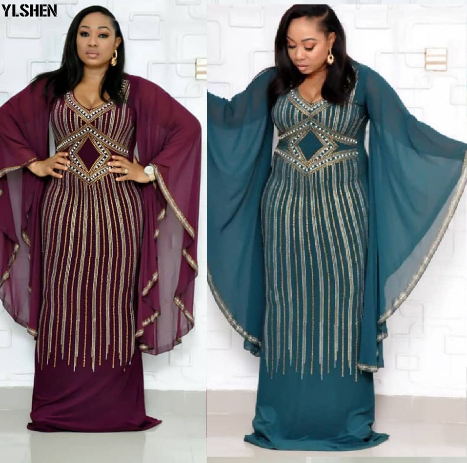 African Dresses For Women 2019 New African Clothes Dashiki Diamond Beads Bazin Riche Sexy Slim Ruffle Sleeve Long Africa Dress