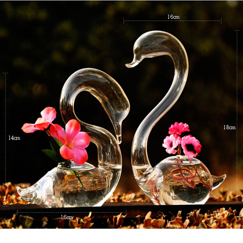 AliExpress & US $11.67 50% OFF Love Swan flower vases home decoration flower pots planters wedding decoration vasos party gifts hot sale glass crafts-in Vases from ...