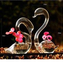Love Swan flower vases home decoration flower pots planters wedding decoration vasos party gifts hot sale glass crafts