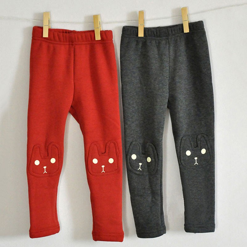Cute Rabbit Printed Girls Child Pants Winter Autumn Bottoms Kids Baby Toddler Inside Warm Fleece Leggings Trousers 1