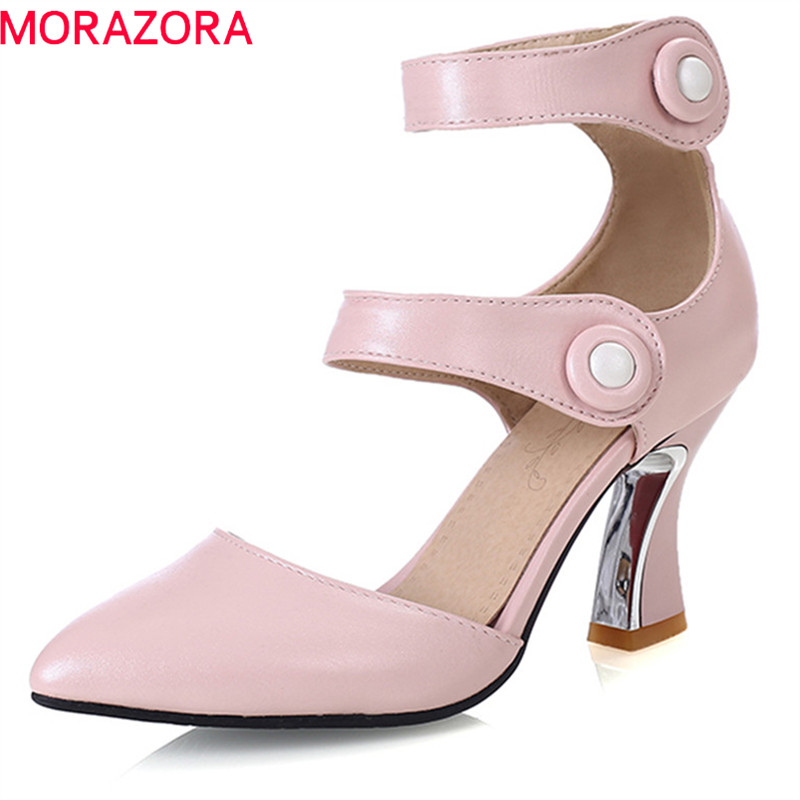 MORAZORA 2020 New Women Pumps Pointed Toe Summer Shoes Simple Buckle Fashion Punk Fashion Shoes Comfortable High Heel Shoes