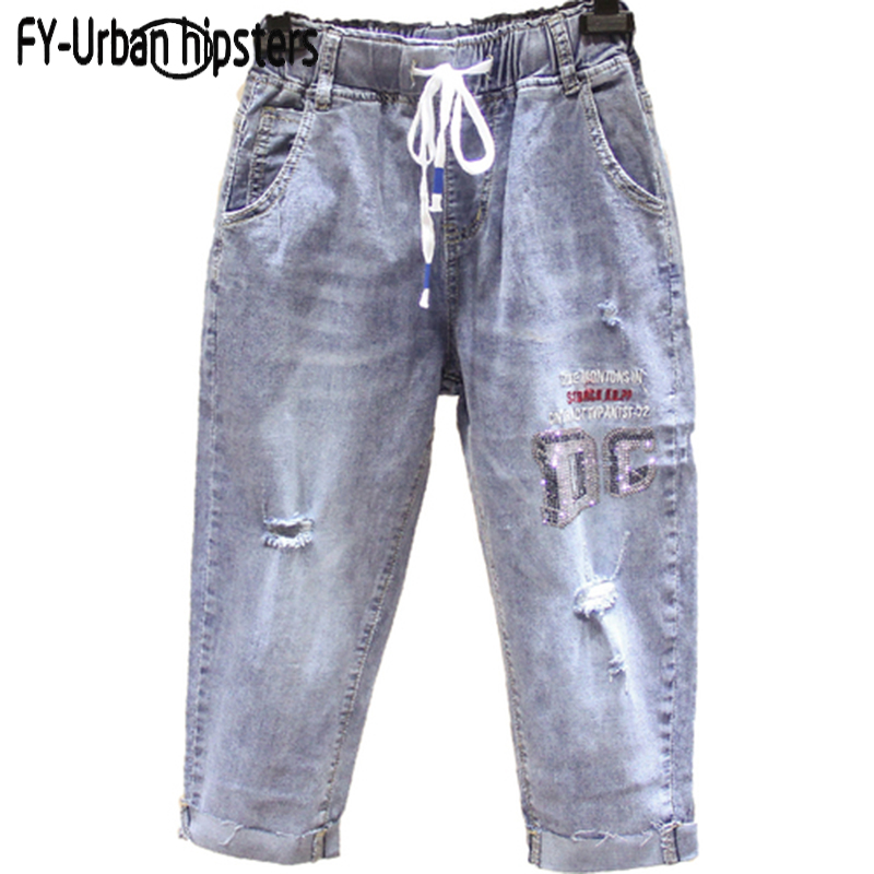 High Waist Hole Ripped Jeans Woman Summer Denim Pants Lace Up Plus Size Beaded Jeans Embroidery Women Calf-Length Harem Pants