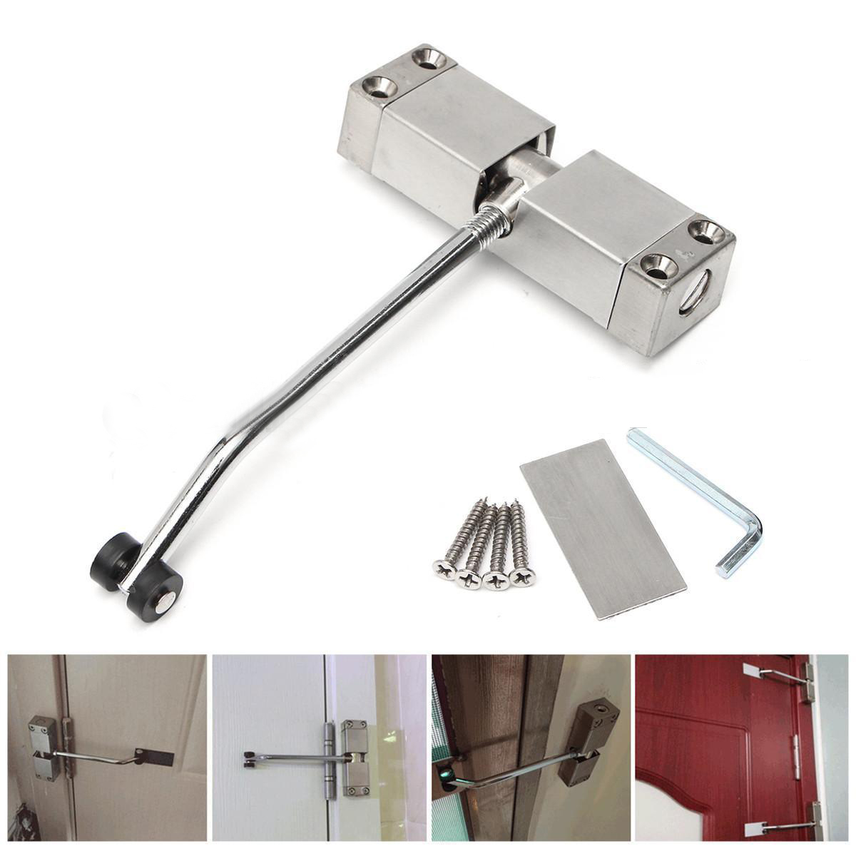 Brand New Stainless Steel Durable Automatic Mounted Spring Door Closer Adjustable Surface Door Closer 160x96x20mm Drop Shopping