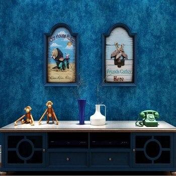 Mediterranean dark blue solid color non-woven wallpaper shop restaurant bedroom living room background wallpaper