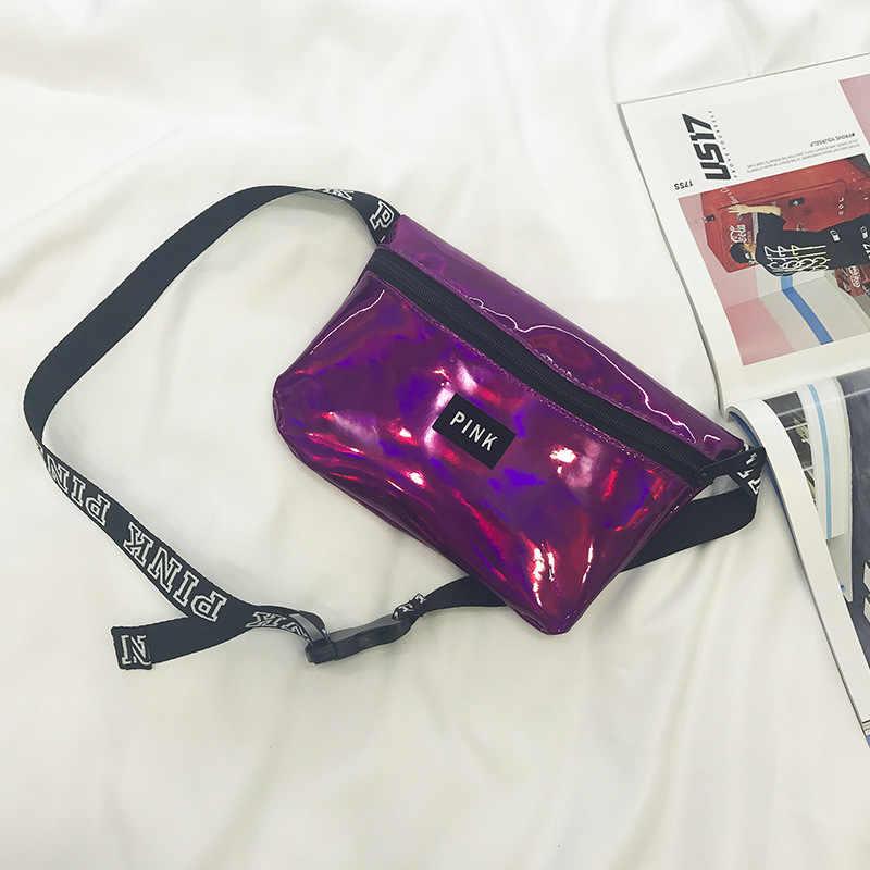 חדש עמיד למים ורוד פאני חבילה חוף כיסים פאוץ חגורת לייזר ילדה מותניים תיק חבילת מיני נשים הולוגרפית חגורת תיק פאוץ חגורת
