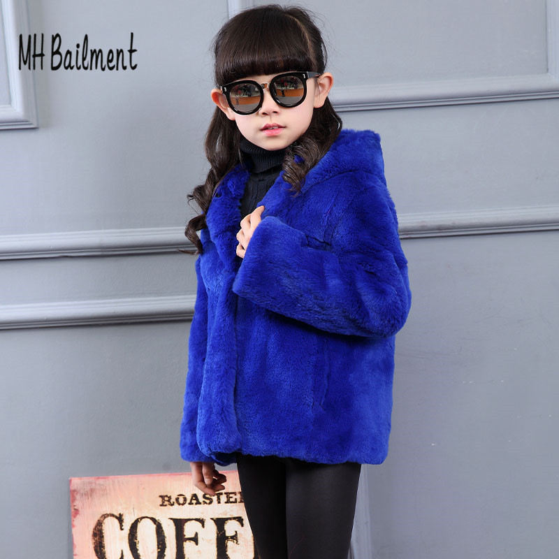 2017 Children Real Rabbit Fur Coat Winter Girls Warm Long Section Outerwear Clothing Kids Hooded Solid Blue Casual Fur Coat C#24 children army coat real rabbit fur clothing winterreversible long parkas kids warm thick outerwear black jacket hooded coat c 7