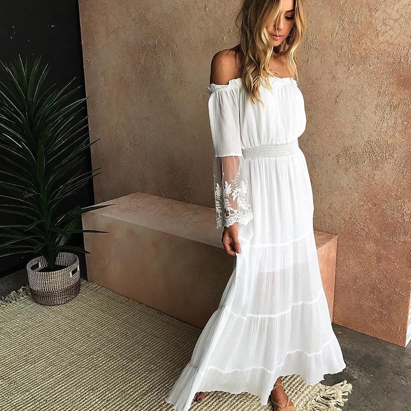 White Beach Dress Women Summer (9)