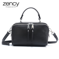 Zency Lady Casual Tote 100% Natural Leather Charm Black Women Handbag Small Bag Fashion Messenger Crossbody Purse Brown