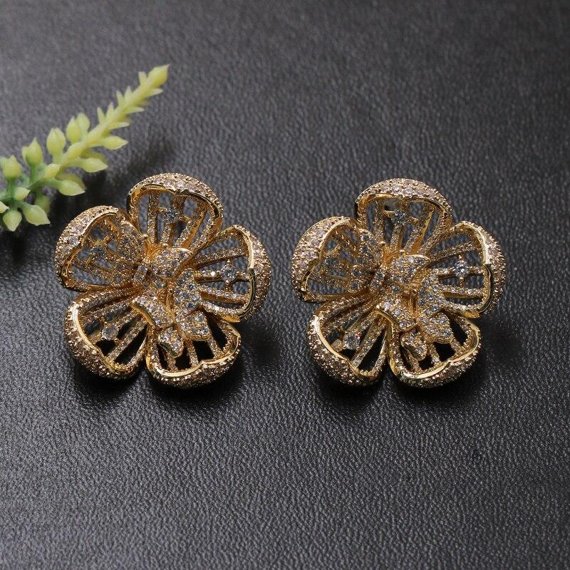 Lanyika Mode Schmuck Blühende Blume Schöne Braut Ohrringe Stud Mikro Pflastern Hochzeit Engagement Party Luxus Ohr Beste Geschenk