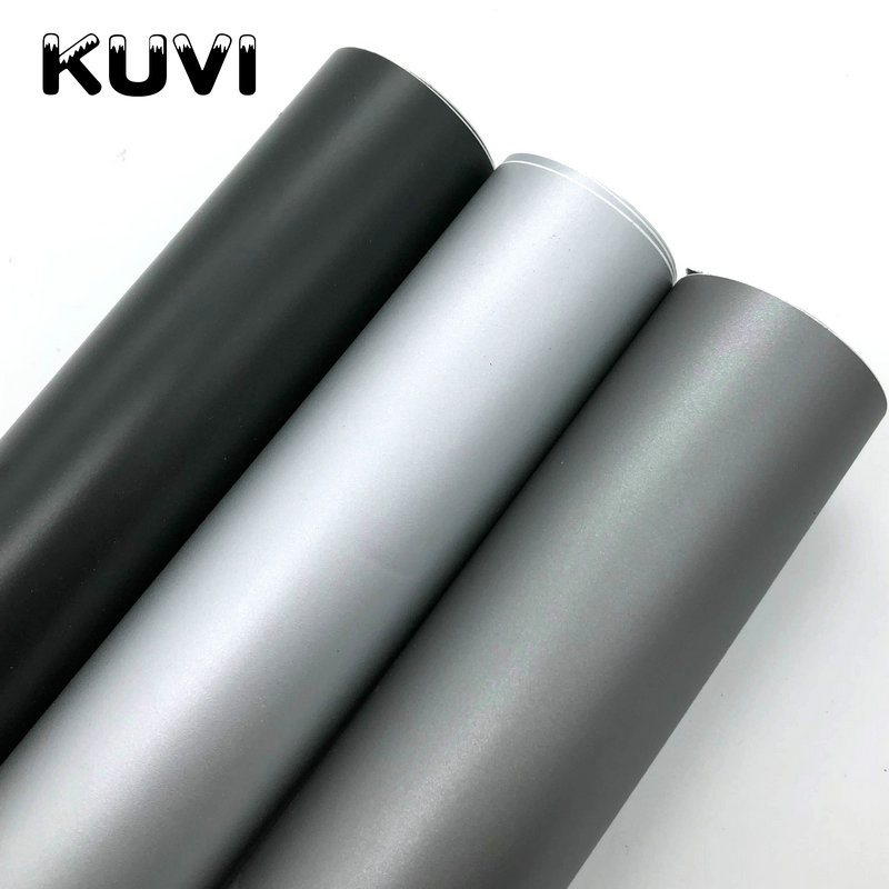 152CMX30CMMatte Silver Grey Black Vinyl Car Wrap Car Motorcycle Scooter DIY Styling Adhesive Film Sheet With Air Bubble Stickers