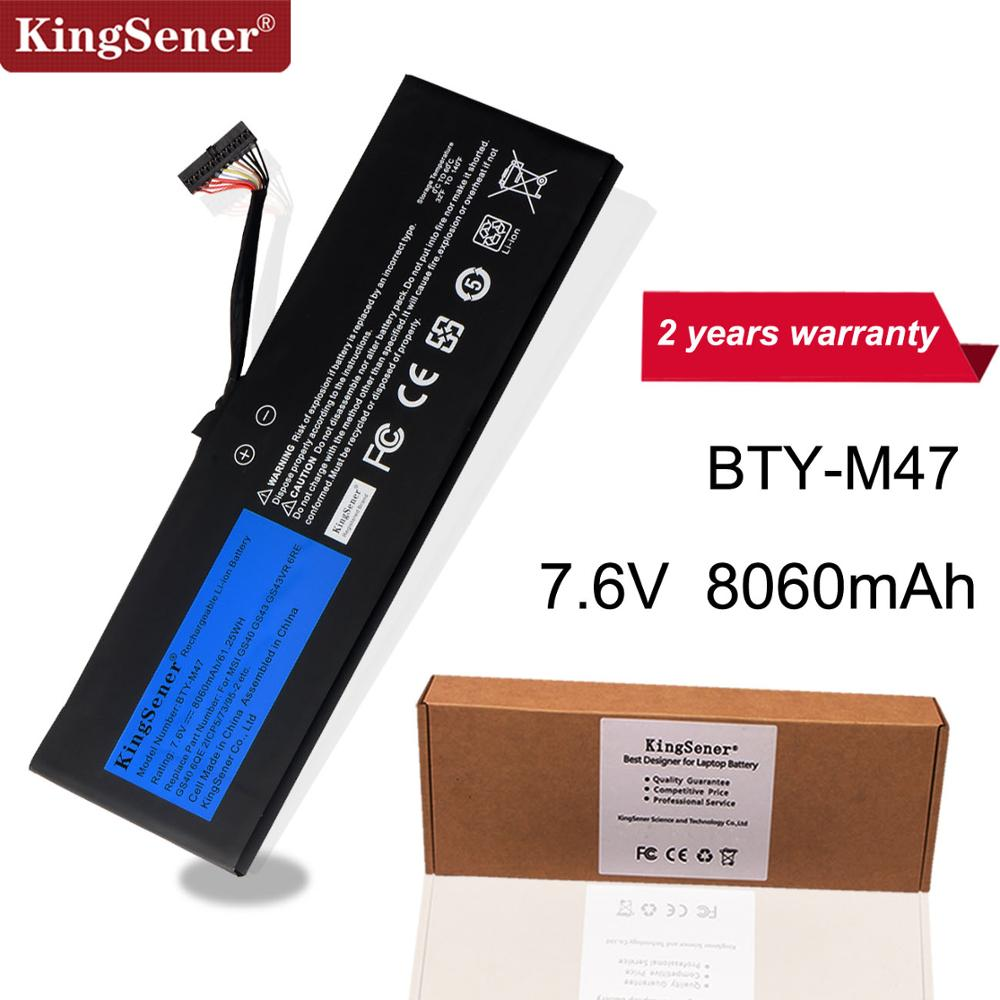 KingSener New BTY-M47 Laptop Battery For MSI GS40 GS43 GS43VR 6RE GS40 6QE 2ICP5/73/95-2 7.6V 8060mAh/61.25WH 2 Years Warranty