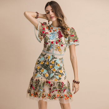 Vestido midi bordado multicolor malla verano flores 1