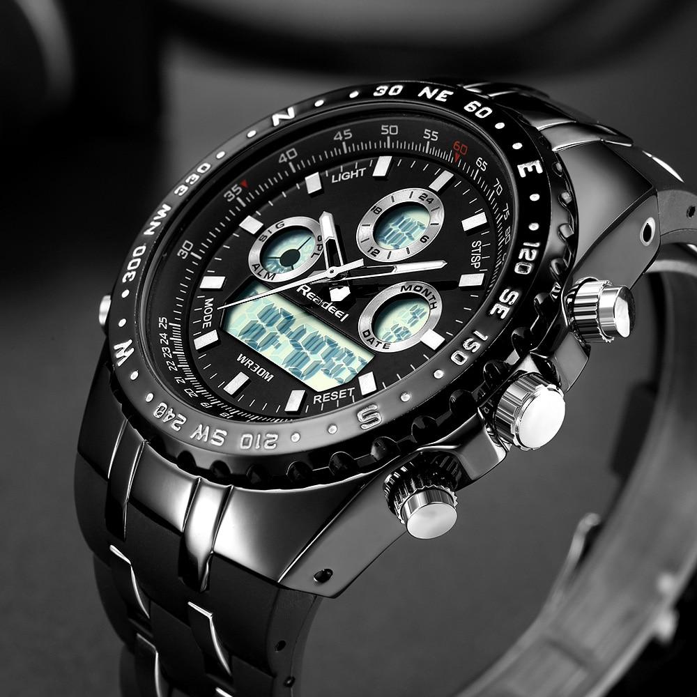 Readeel Top Brand Sport Quartz Wrist Watch Men Military Waterproof Watches LED Digital Watches Men Quartz Wristwatch Clock Male 12