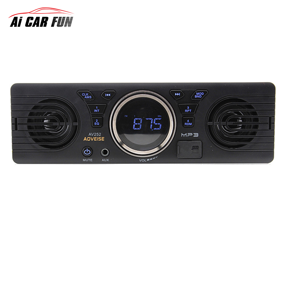 цена на Bluetooth AV252 12V Car Radio Tuner loudspeaker In-dash Audio MP3 Player Car Stereo FM Radio EDR with USB /TF Card Port MP3/ WMA