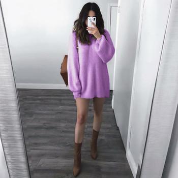 Fioletowy sweter moherowy dzianinowy Twisted gruby ciepły sweter damski solidny O-Neck luźny dzianinowy ciepły sweter z długim rękawem w stylu koreańskim tanie i dobre opinie ONTO-MATO Akrylowe Acrylic Mieszkanie dzianiny Pełna Stałe REGULAR NONE STANDARD Brak Kobiety Swetry Na co dzień Casual Sweater