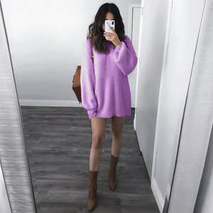 Knitted Warm Long Latern Sleeve Sweater Solid purple O-Neck Loose Sweater Blouse Simple