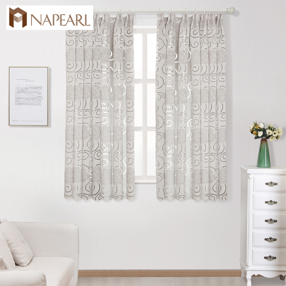 NAPEARL Ready Made Short Drapes Double Color Curtains For Kitchen Windows Floral Jacquard Drops Bedroom Windows Tape Style Semi