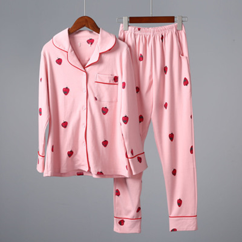 100 % Cotton Autumn Pajamas Set Women Sexy Pyjama Loose Size Female Long Sleeve Shirt Pants 2 Piece/Set Home Sleepwear