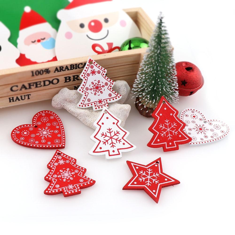 20PC Christmas Snowflakes Wooden Pendants Xmas Tree Ornaments Hanging DIY Decor