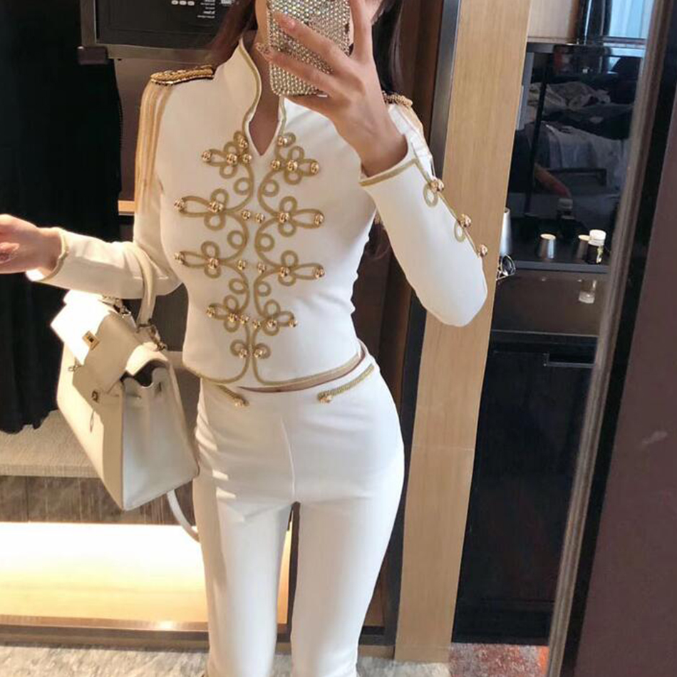 Adyce 2019 New Summer Women Club Bandage Set Black White Tassel Tops Pant 2 Two Pieces