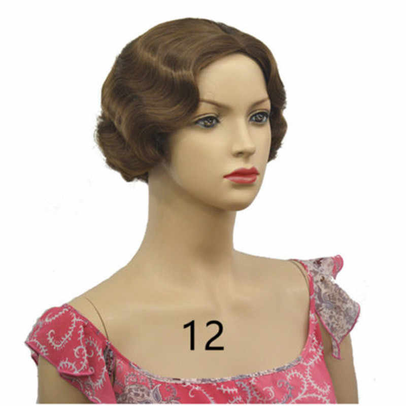 new arrivals 24b34 3a809 ... 20s Womens Retro Short Finger Wave Curly Wavy Pinup Wigs Classy Vintage  Wavy-Style Wig ...