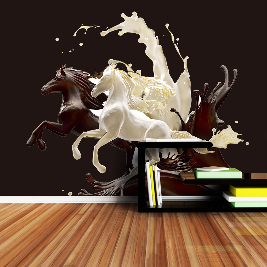 ShineHome-Wall Papers Home Decor 3d Wallpaper For Living Room Bedroom Murals Roll Wallpapers Papel De Parede Milk Coffee Horse