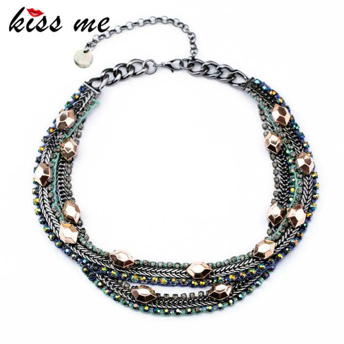 New Styles KISS ME Statement Fashion Women Jewelry Multilayer Chain Necklace