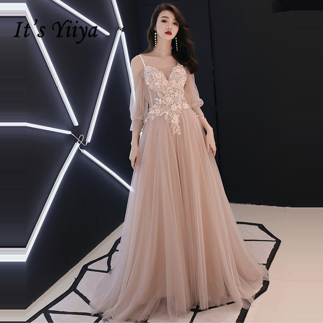 It s YiiYa Evening Dress 2018 V-neck Appliques Beading Spaghetti Strap  Illusion A-line Floor-length LX1268 robe de soiree e926a5b26c79