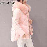 winter jacket women Large fur collar down wadded jacket female cotton padded jackets thickening women winter coat