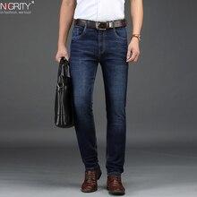 Новинка 2019, мужские прямые повседневные джинсы NIGRITY, модные эластичные джинсовые брюки, темно синие мужские эластичные брюки большого размера 29 42