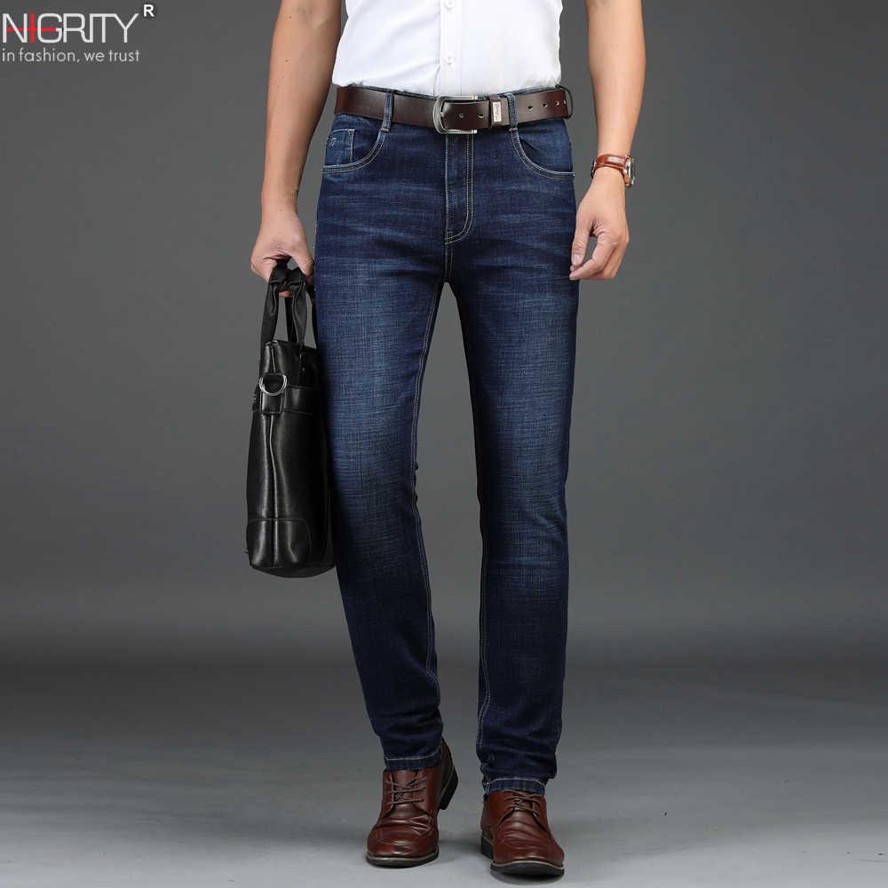 f294076f4ca NIGRITY 2018 autumn winter New Men s Straight casual jeans Fashion thick denim  trousers dark blue male