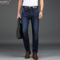 NIGRITY 2019 New Men's Straight casual jeans Fashion Elastic Denim trousers dark blue male stretchy pant Plus Big Size 29 42