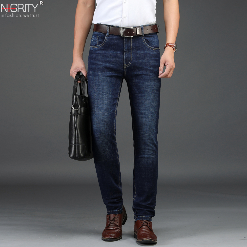 NIGRITY 2019 New Men's Straight Casual Jeans Fashion Elastic Denim Trousers Dark Blue Male Stretchy Pant Plus Big Size 29-42