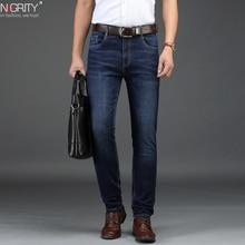 NIGRITY 2019 Novo jeans casual Retas dos homens Da Moda Elástica calças Jeans azul escuro do sexo masculino stretchy pant Além Big Size 29 42