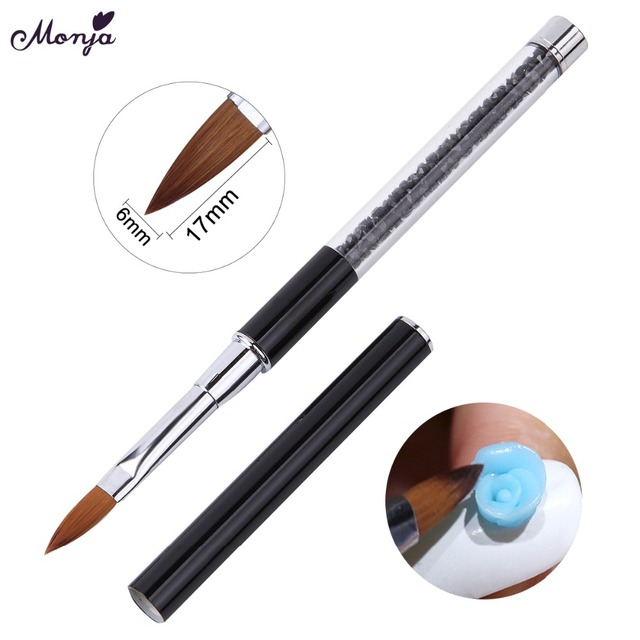 Monja Nail Art Rhinestone Acrylic Handle Carving Nails UV Gel Painting Brush Lines Liner DIY Design Drawing Pen Manicure Tool 5