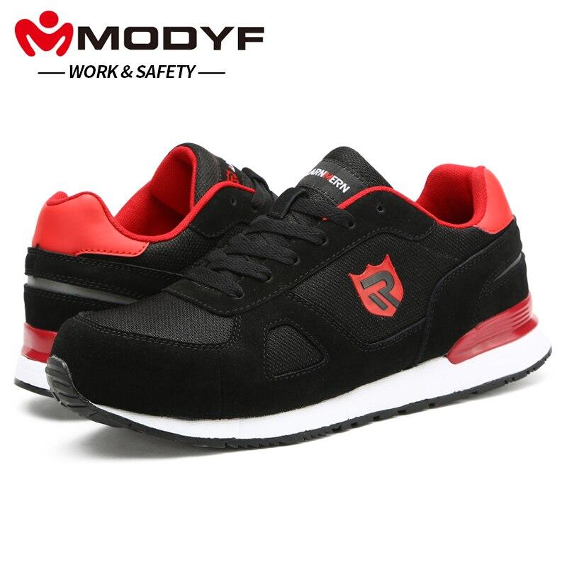 MODYF Для мужчин безопасности обувь Рабочая Сталь носком Caps сапоги Повседневное скейтборд лодыжки тапки защитная обувь