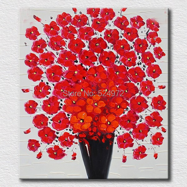 Hand painted modern home idea decor wall art picture Red yellow blue flowers thick palette font