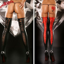 Sexy free shipping women accessory stocking,lace up back women thigh tights,vinyl leather shape leg bandge compressions