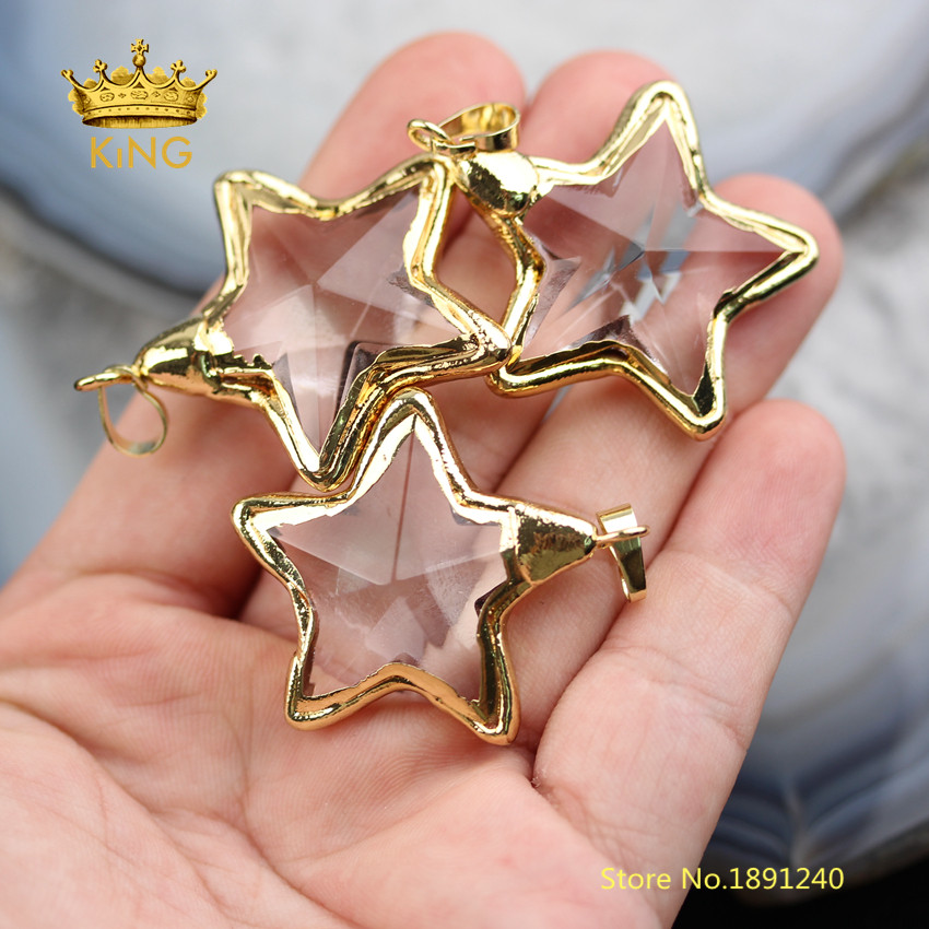 Image 4 - 10PCS Star Shaped Bezel Glass Pendants Crafts Earrings,35mm Faceted Clear Glass Plated Gold Edged Charms Necklace Wholesale YT30-in Pendants from Jewelry & Accessories