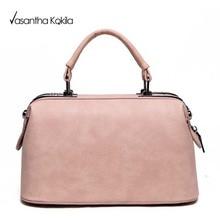 Women Pink Double Handle Zipper PU Work Shoulder Bag New Arrival Female Fashion Bags Korean Style 2017 Women Handbag XP616