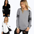 Women Casual Loose Long Sleeve Round Neck Splice Pullover Shirt Tops T Shirt